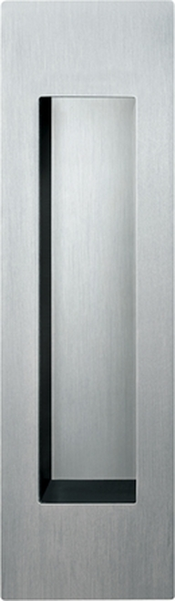 Stainless Steel barn door pull in the open position
