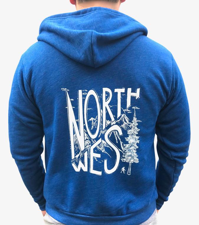 Pine NW unisex zip hoodie (mens - back)