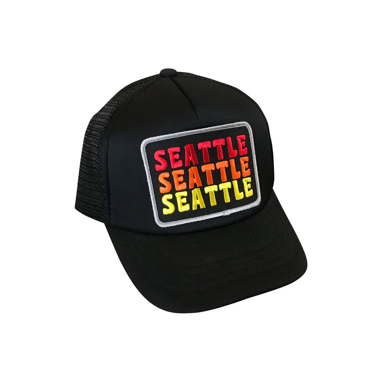 Seattle Sunrise baby and toddler adjustable trucker hat (Black)