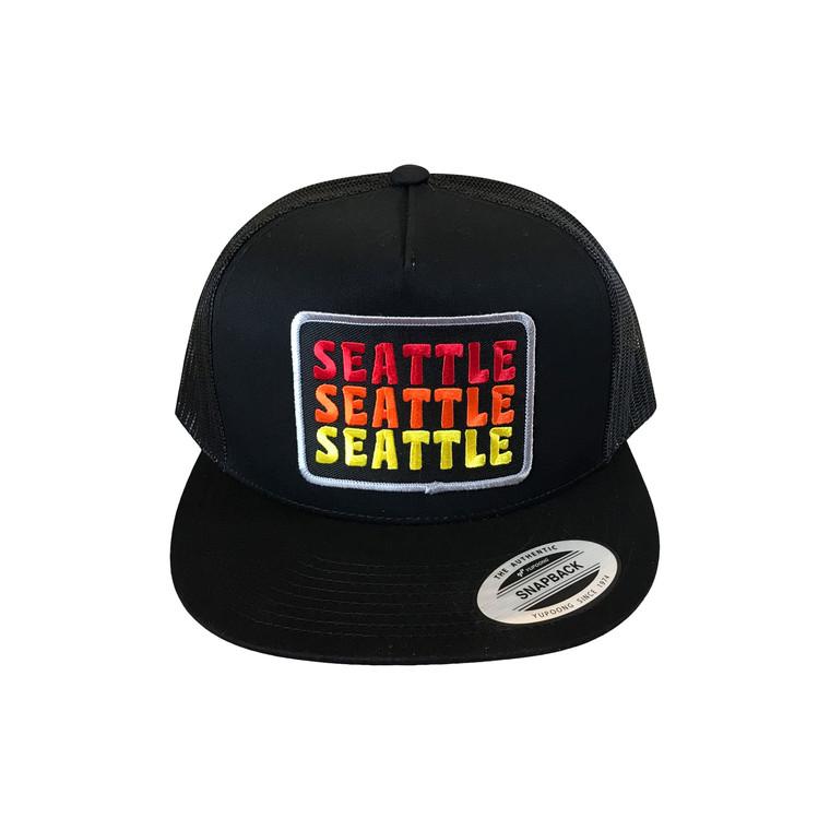 Seattle Sunrise adult trucker hat (Flat)
