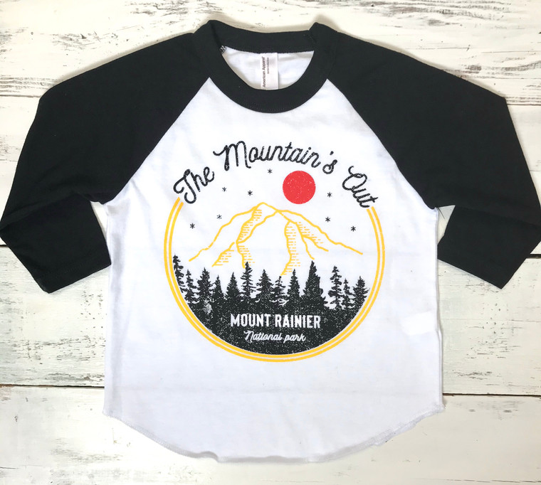 The Mountain is Out baby and kids baseball shirt