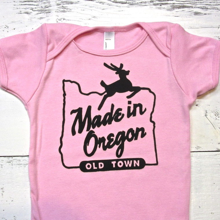 Made in Oregon baby onesie (Pink)