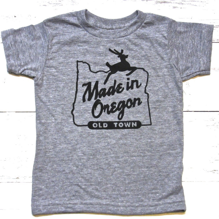 Made in Oregon baby and kids t-shirt (Grey)