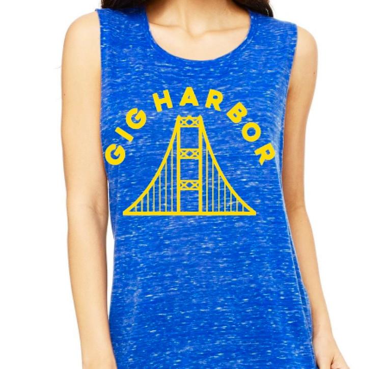 Gig Harbor Narrows Bridge womens muscle shirt