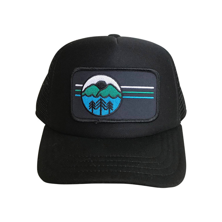 I Love the Outdoors baby and toddler trucker hat (Black)