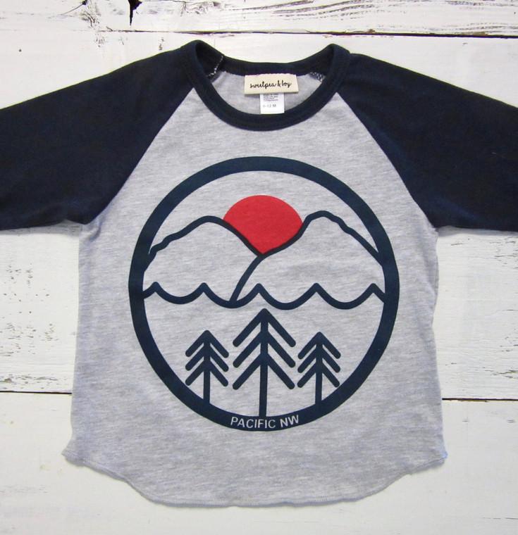 Pacific Northwest baby and kids baseball shirt (gray/navy)