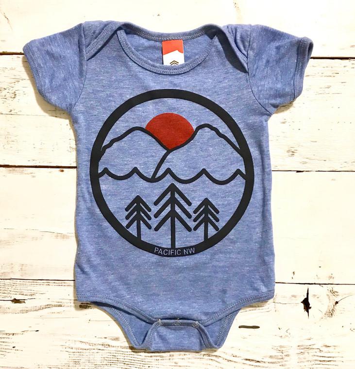 Pacific Northwest baby onesie (Blue)