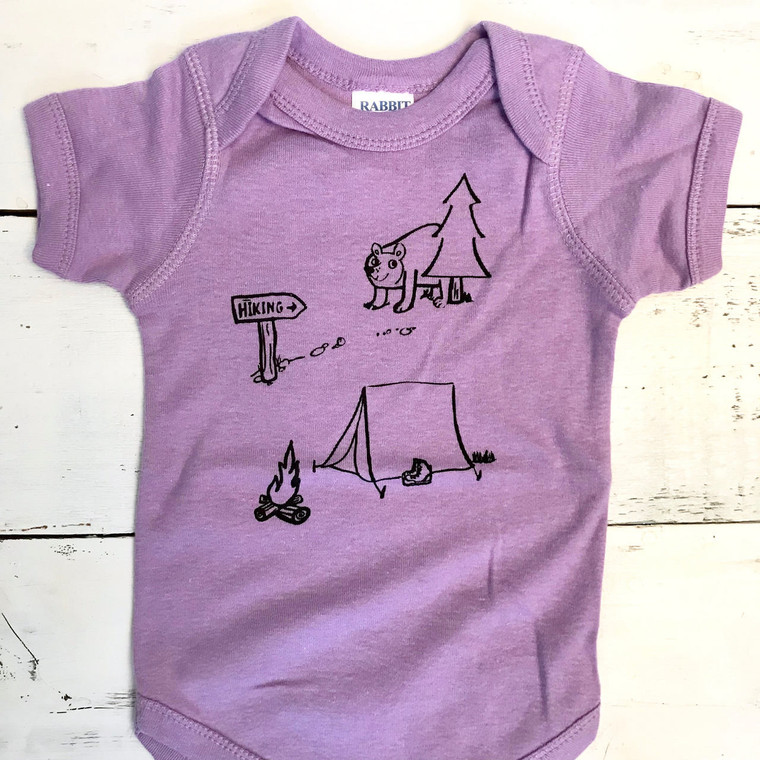 Camping baby onesie (lilac)