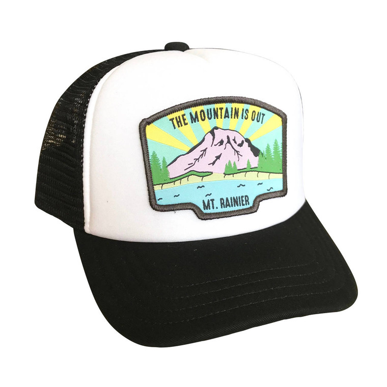 The Mountain is Out baby and kids adjustable trucker hat