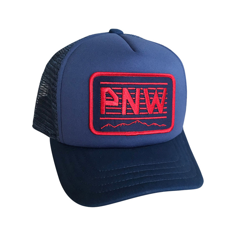 PNW Patch Red baby and toddler trucker hat