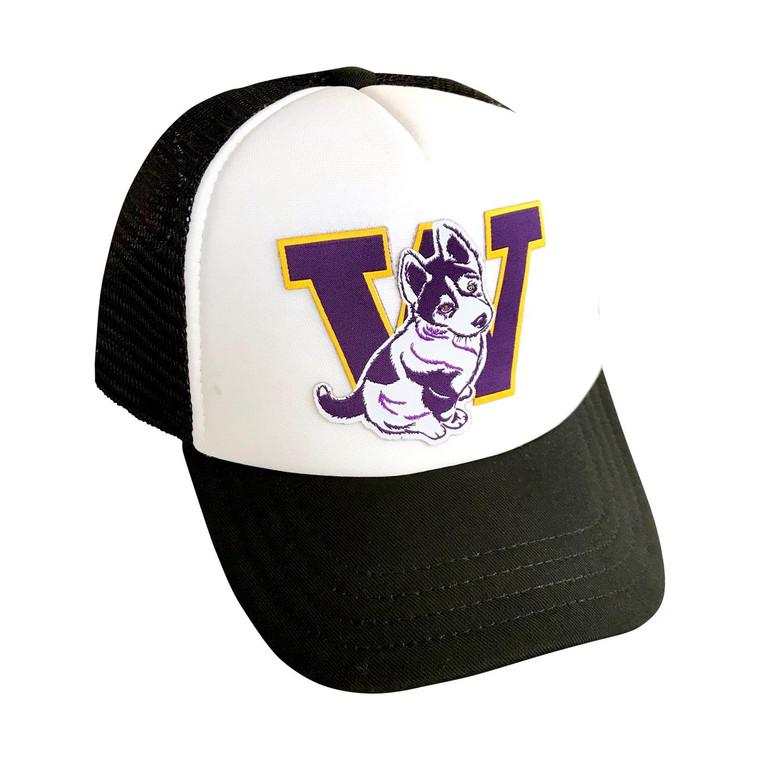 Husky Pup baby/toddler trucker hat (White/black)
