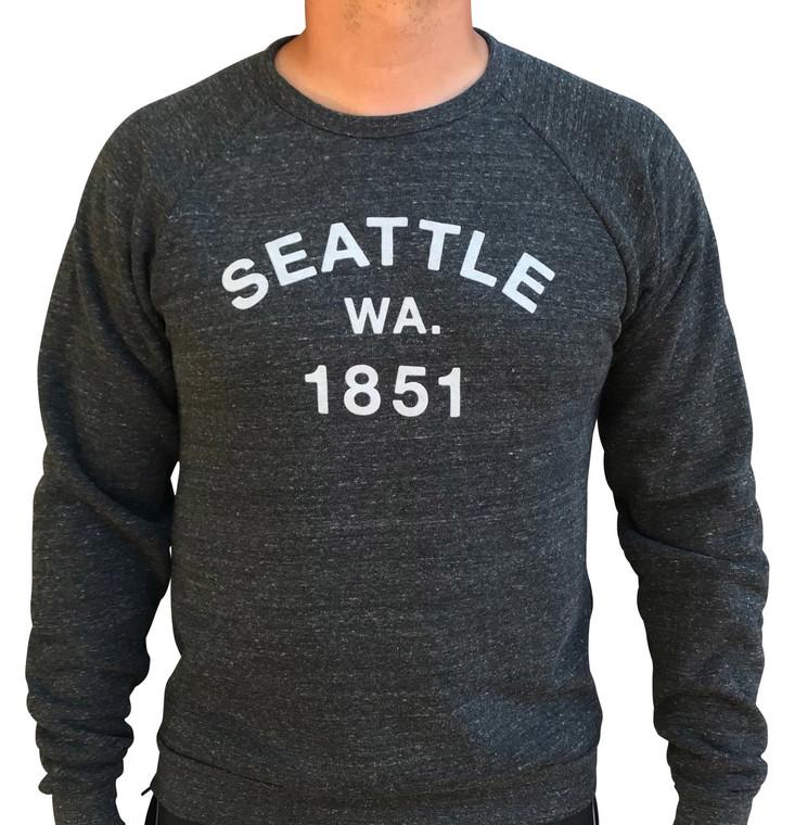 1851 Seattle mens/unisex crewneck sweatshirt (Tri-Black 1)