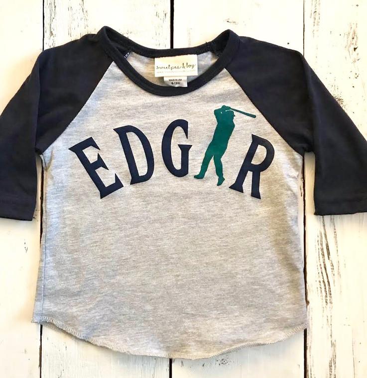 Edgar Baseball baby and kids baseball shirt