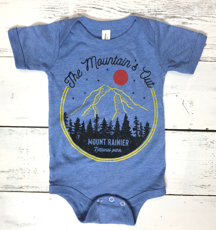 The Mountain is Out baby onesie