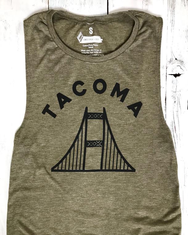 Tacoma Narrows Bridge womens muscle shirt