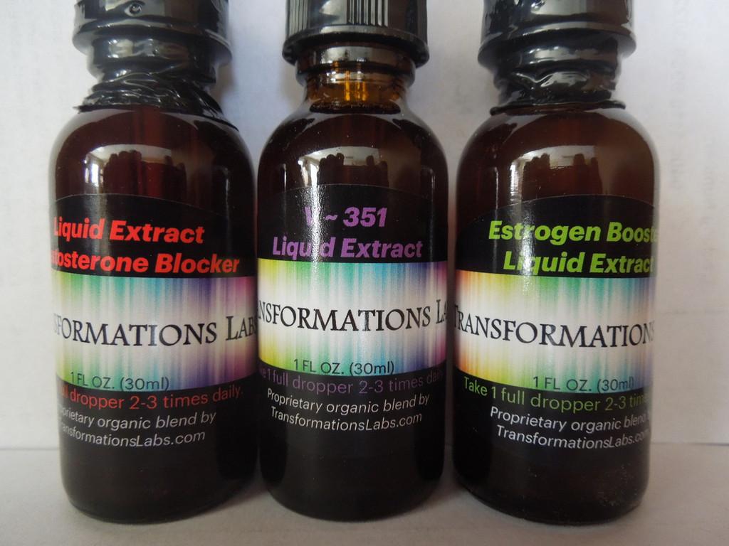 Estrogen Booster, Testosterone Blocker & V ~ 351 - Liquid Extracts - 3 Pack