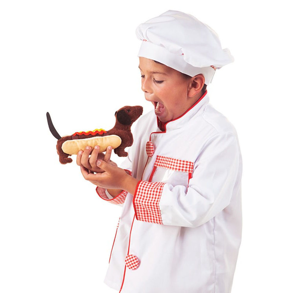 Folkmanis Hot Dog Finger Puppet with kid