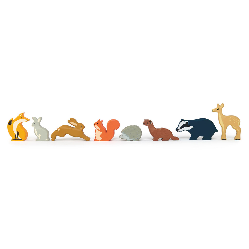 Tender Leaf Toys Woodland Animals lined up (each sold separately)