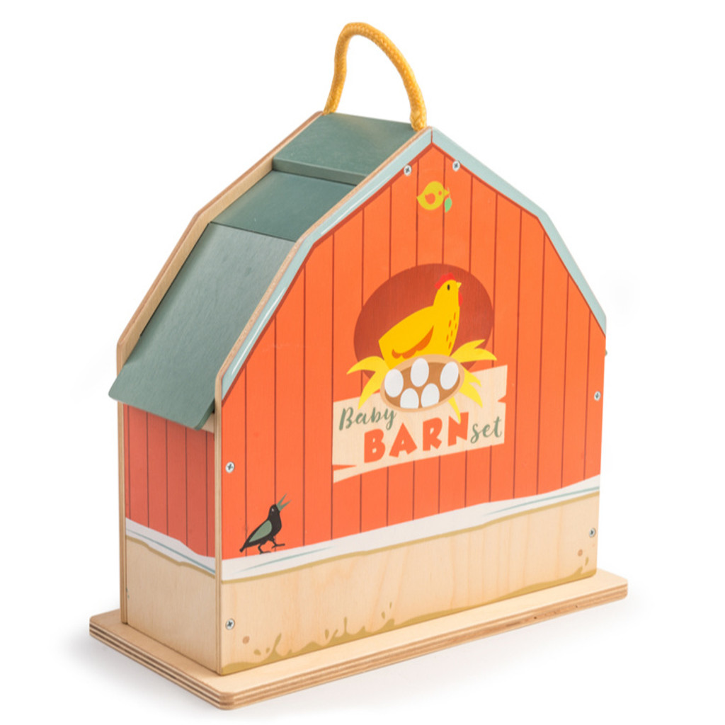 Tender Leaf Toys Little Barnyard Set barn closed back