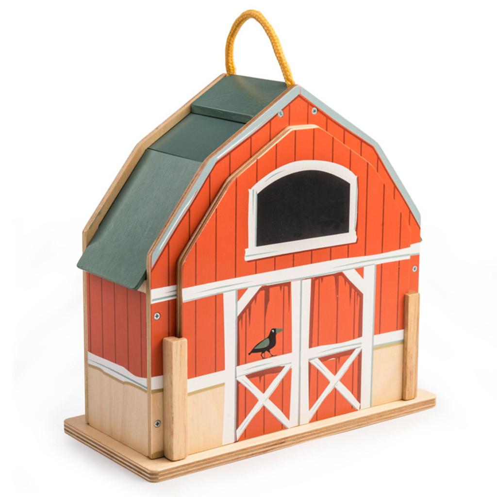Tender Leaf Toys Little Barnyard Set barn closed