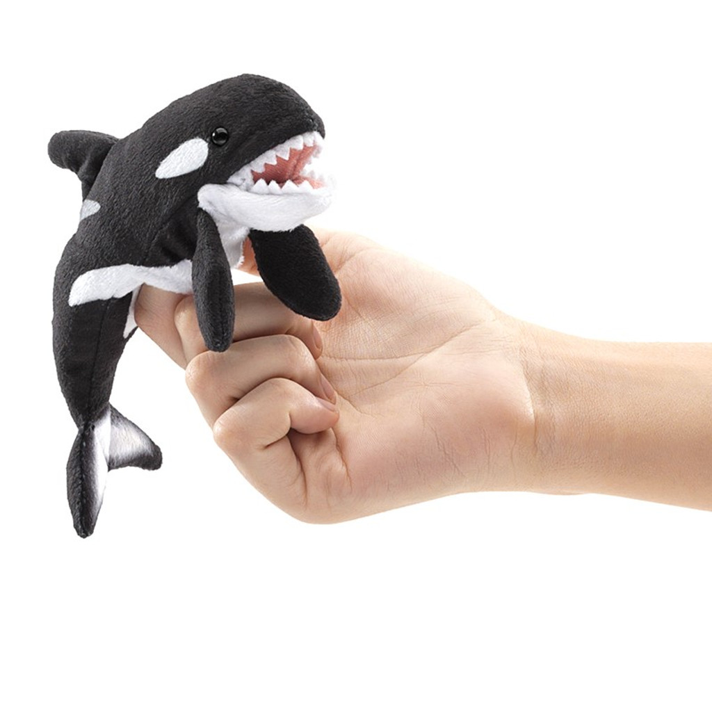 Folkmanis Mini Orca Finger Puppet on finger