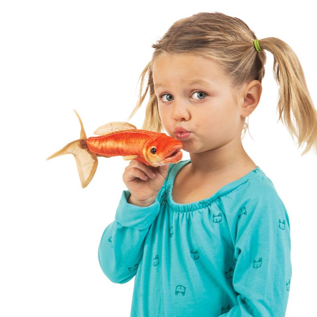 Folkmanis Mini Goldfish Finger Puppet with girl
