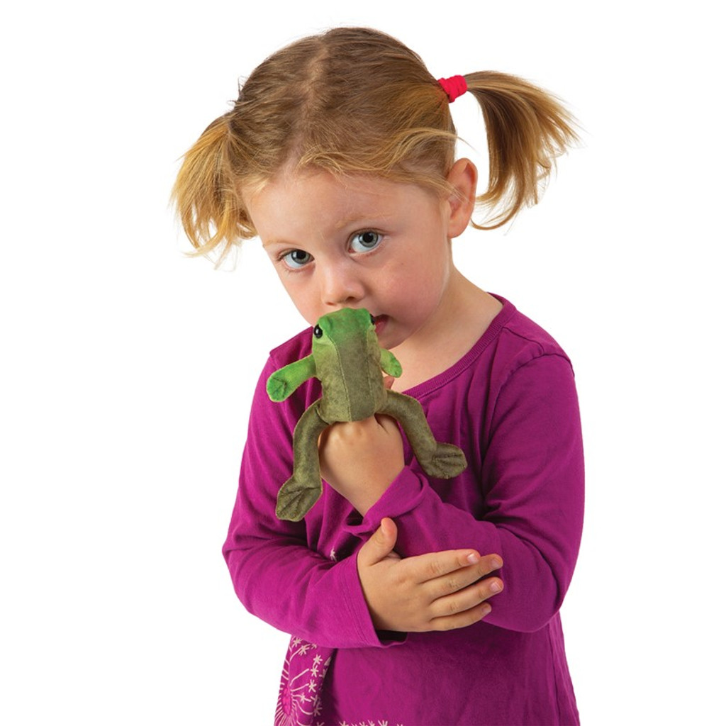 Folkmanis Mini Frog Sitting Finger Puppet with girl