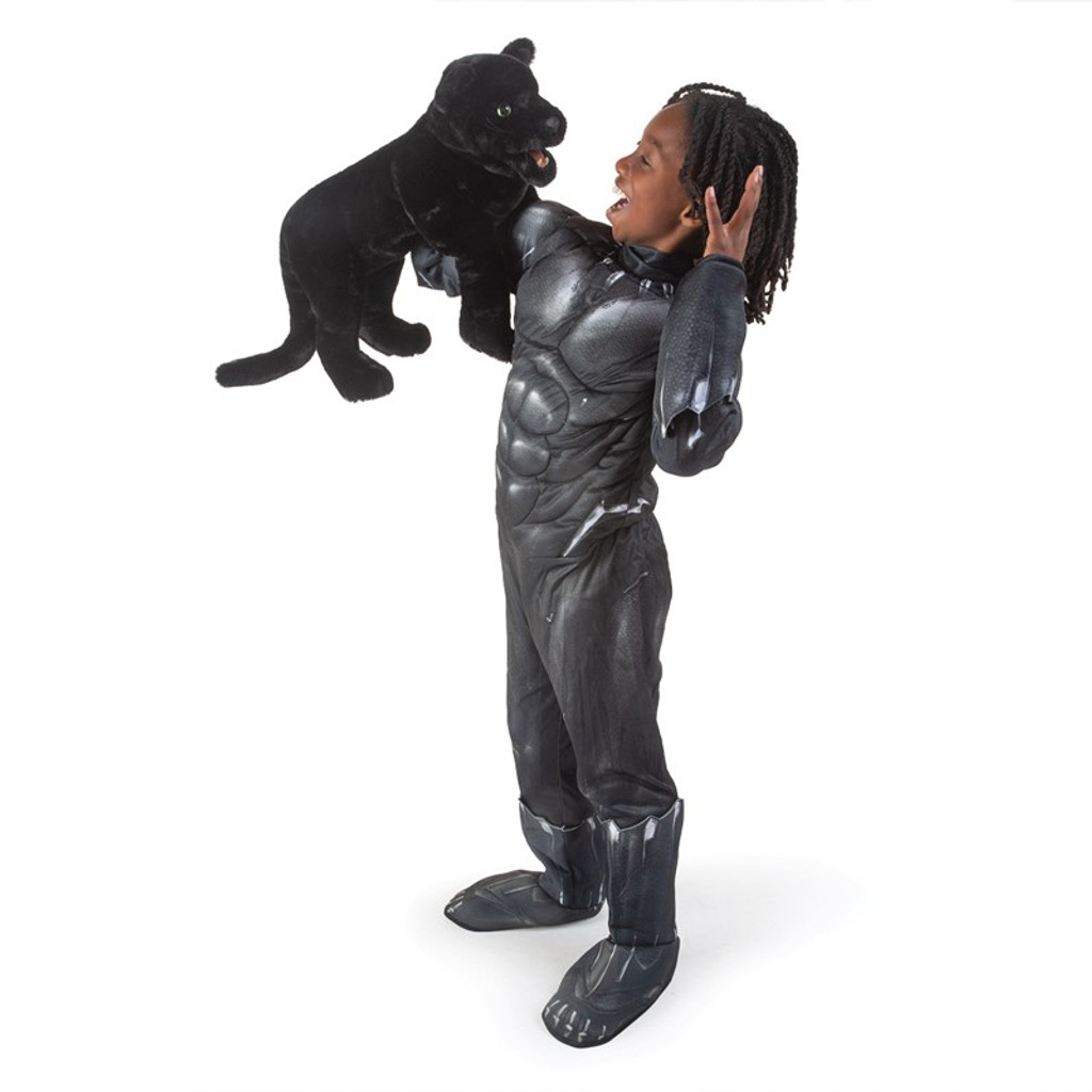 Folkmanis Black Panther Puppet with boy