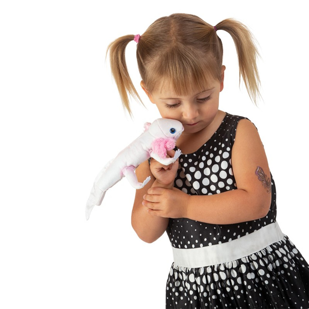 Folkmanis Axolotl Finger Puppet with girl