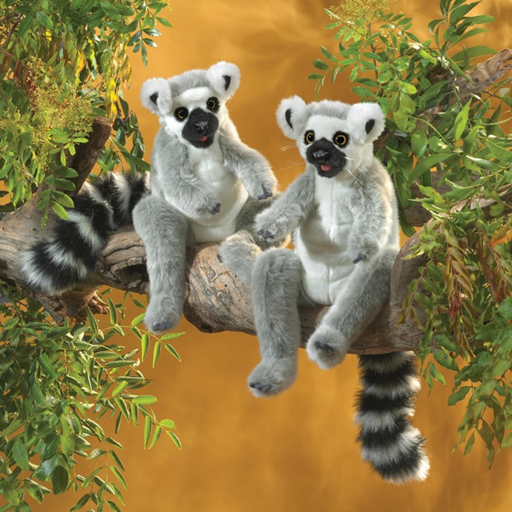 Folkmanis Ring-tailed Lemur Puppets lifestyle (each sold separately)