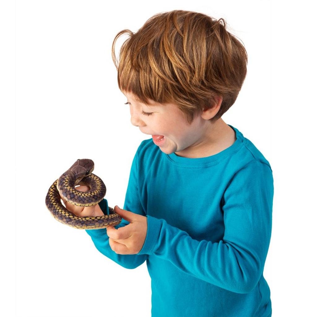 Folkmanis Mini Snake Finger Puppet with boy