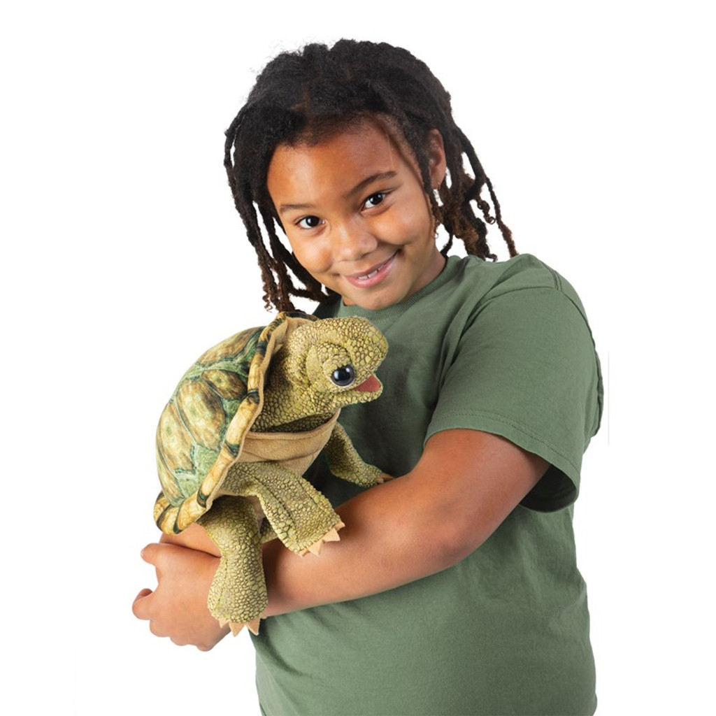 Folkmanis Standing Tortoise Puppet with boy
