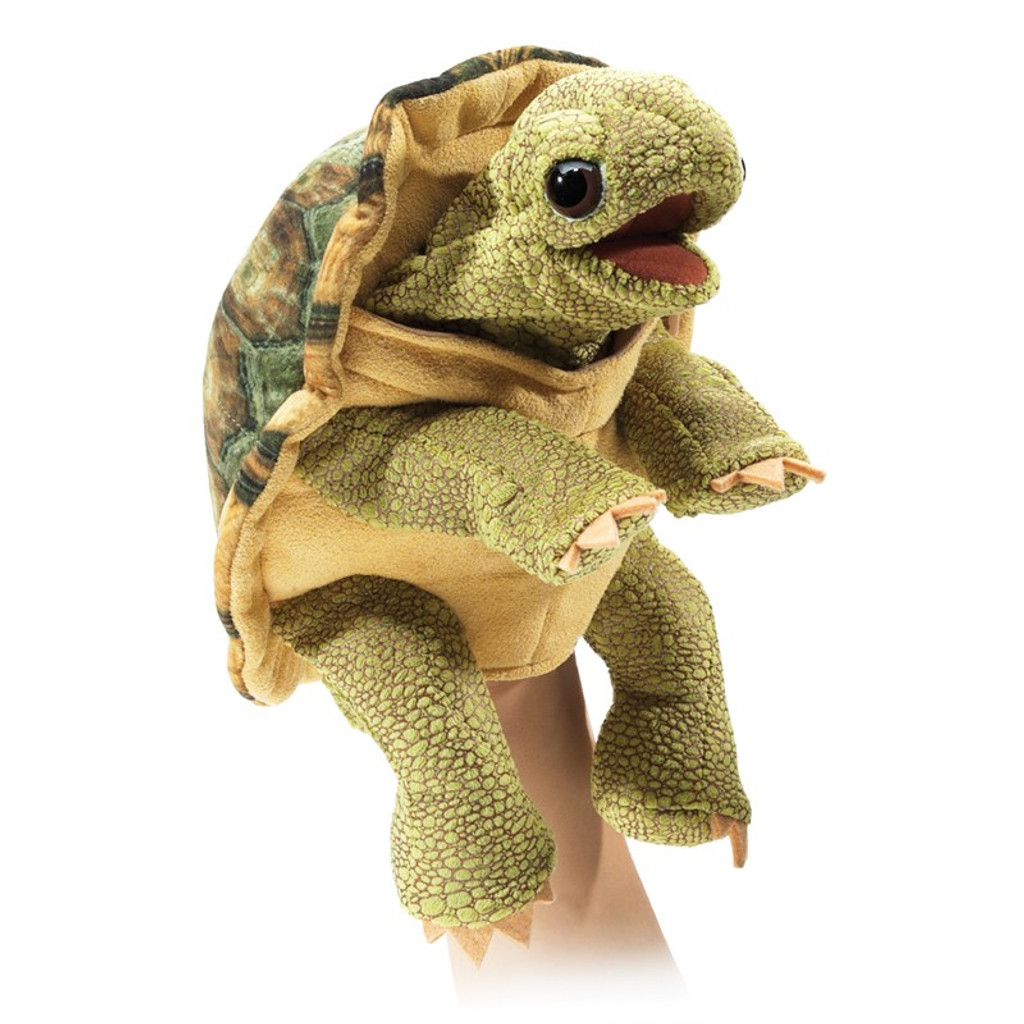 Folkmanis Standing Tortoise Puppet on hand