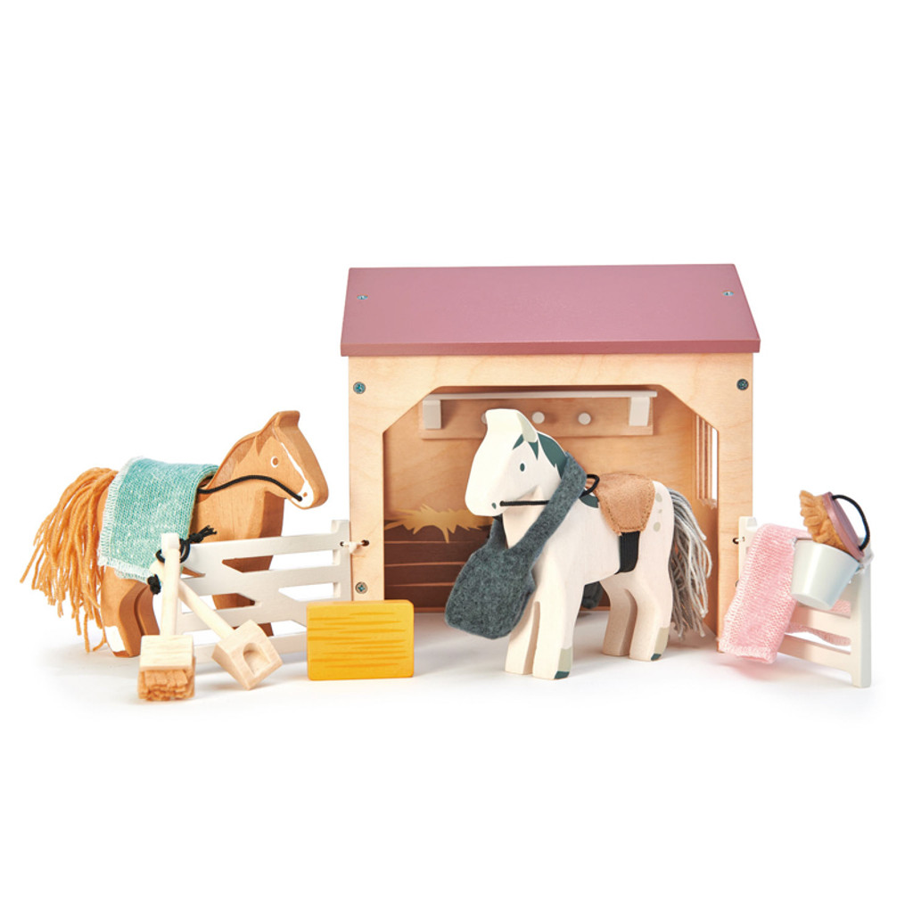 Tender Leaf Toys The Stables horse set view 2