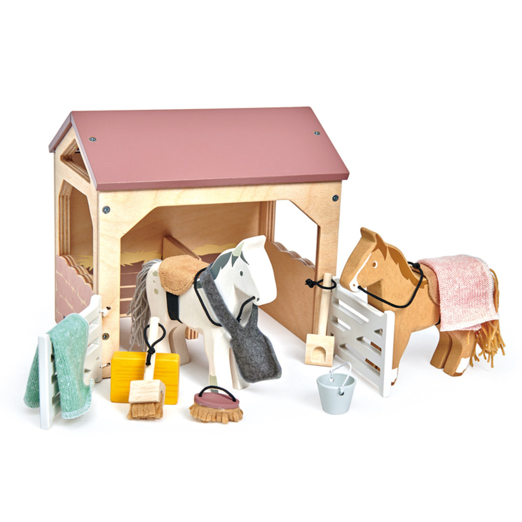 Tender Leaf Toys The Stables horse set