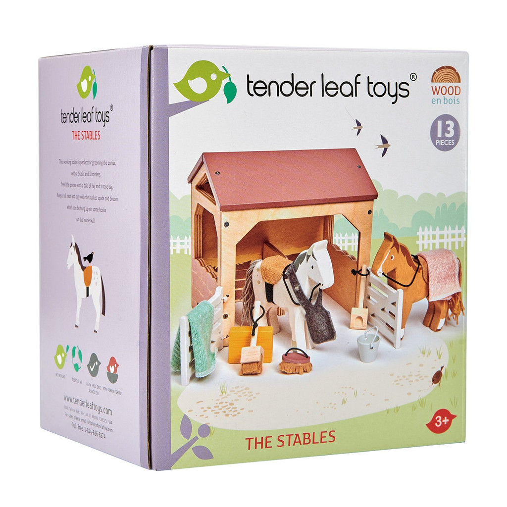 Tender Leaf Toys The Stables horse set box
