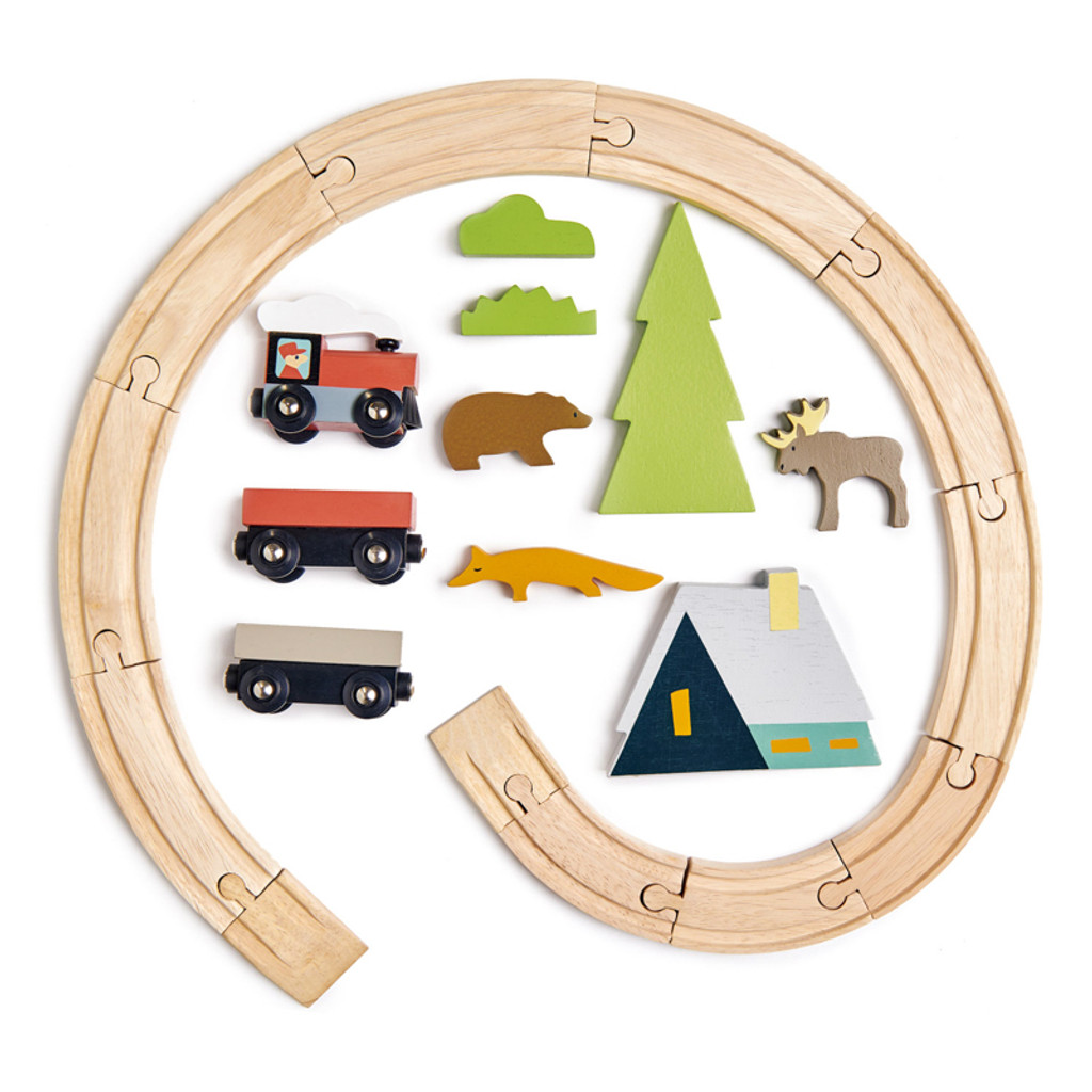 Tender Leaf Toys Treetops Train Set inclusions