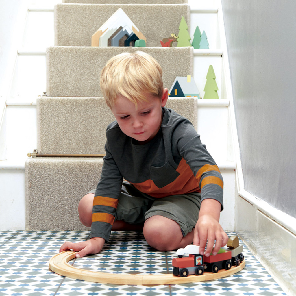 Boy playing with Tender Leaf Toys Treetops Train Set on floor