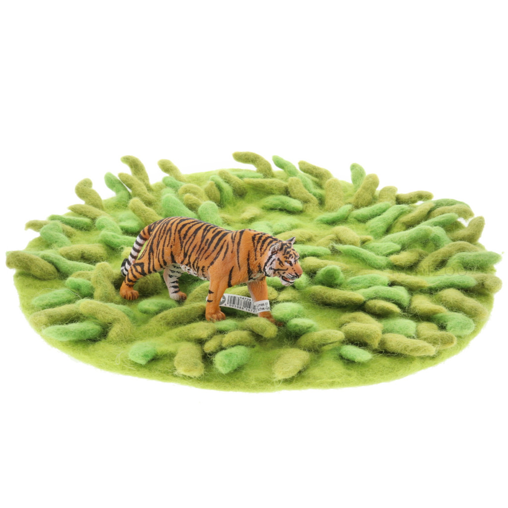 Papoose Grassy Mat with Schleich Tiger (sold separately)