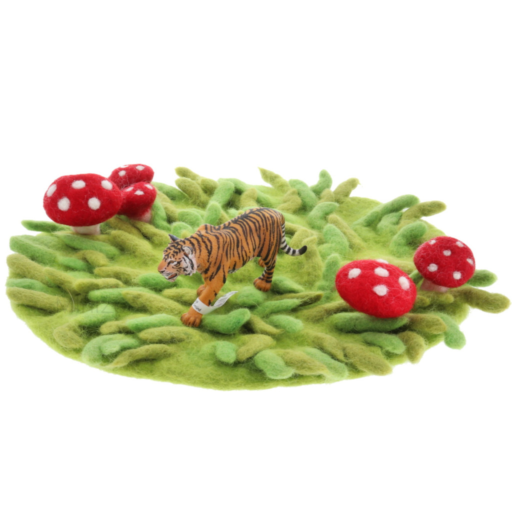 Papoose Summer Fairy House Grassy Mat with Schleich Tiger (sold separately)