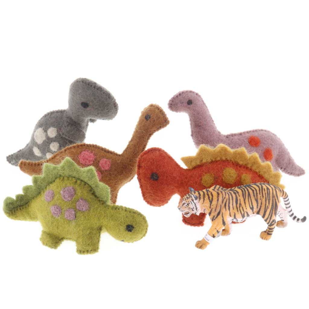 Papoose Natural Dinosaurs with Schleich Tiger (sold separately)