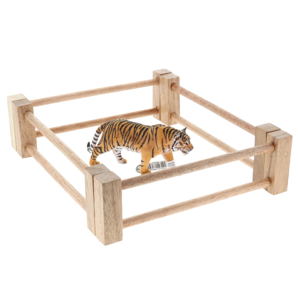 Papoose Wood Railing 4pc with Schleich tiger (sold separately)