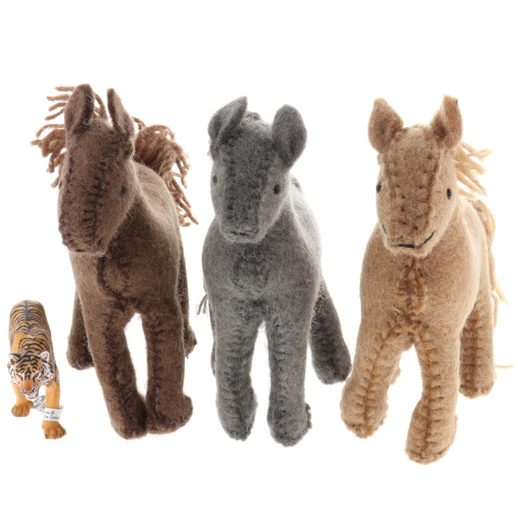 Papoose Village Horses 3pc with Schleich Tiger (sold separately)