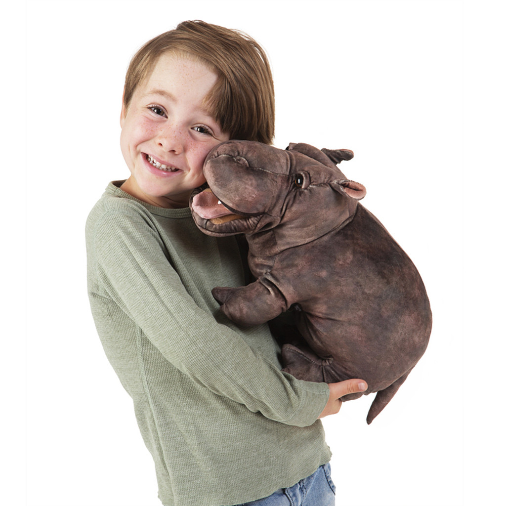 Folkmanis Baby Hippo Puppet with boy