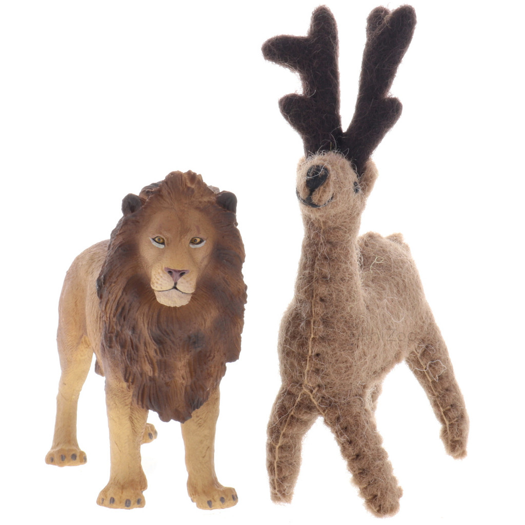 Papoose Felt Reindeer front view with CollectA Lion (sold separately)