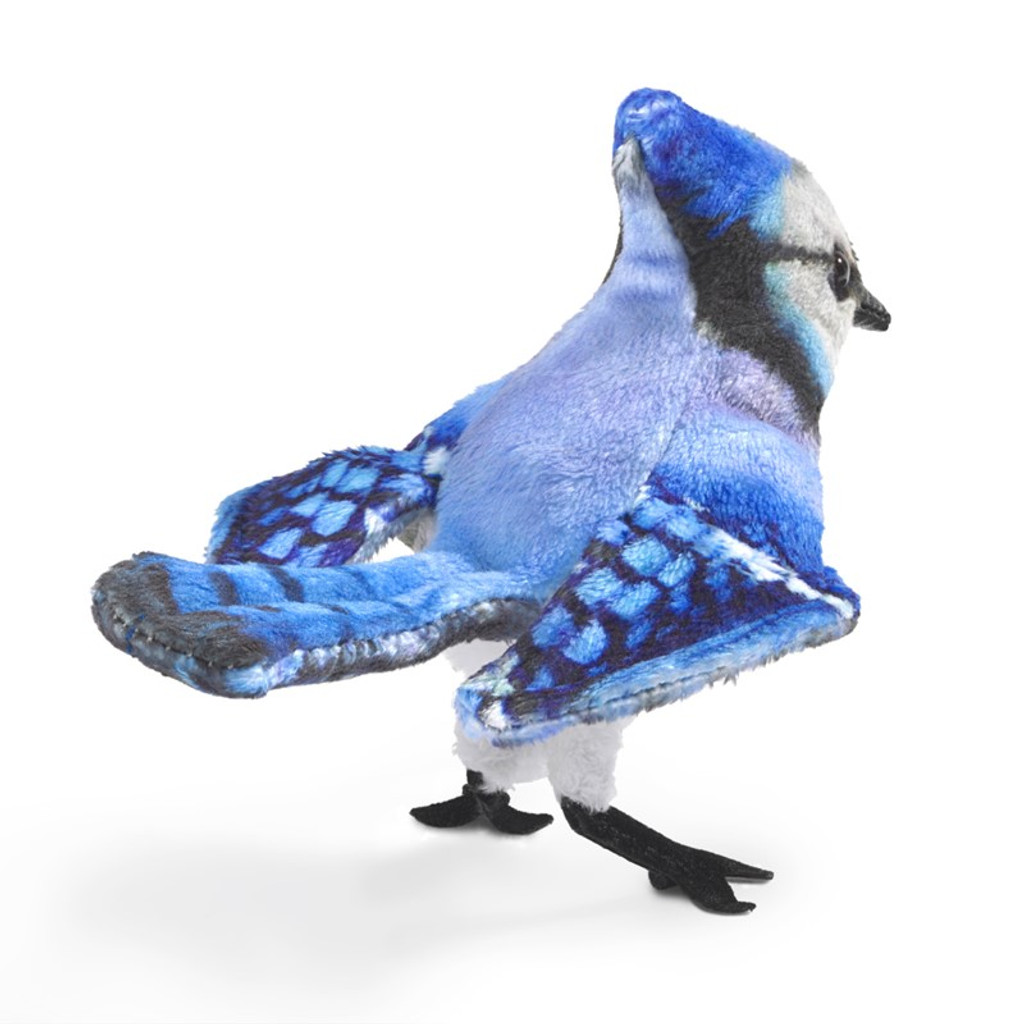 Folkmanis Mini Blue Jay Finger Puppet back