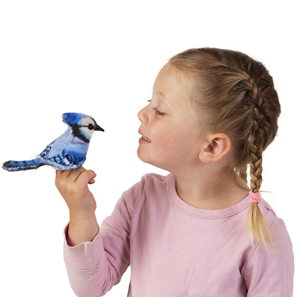 Folkmanis Mini Blue Jay Finger Puppet with girl