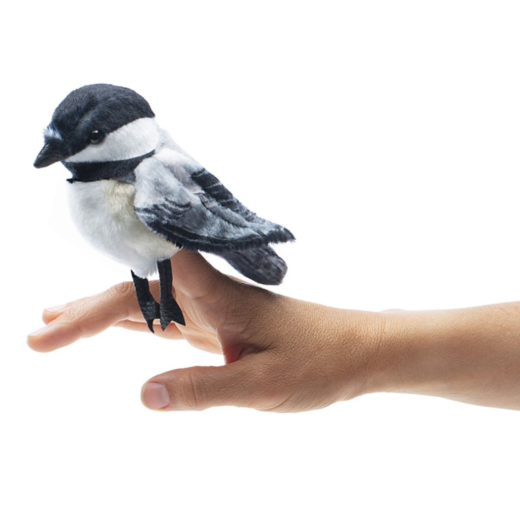 Folkmanis Mini Chickadee Finger Puppet with finger