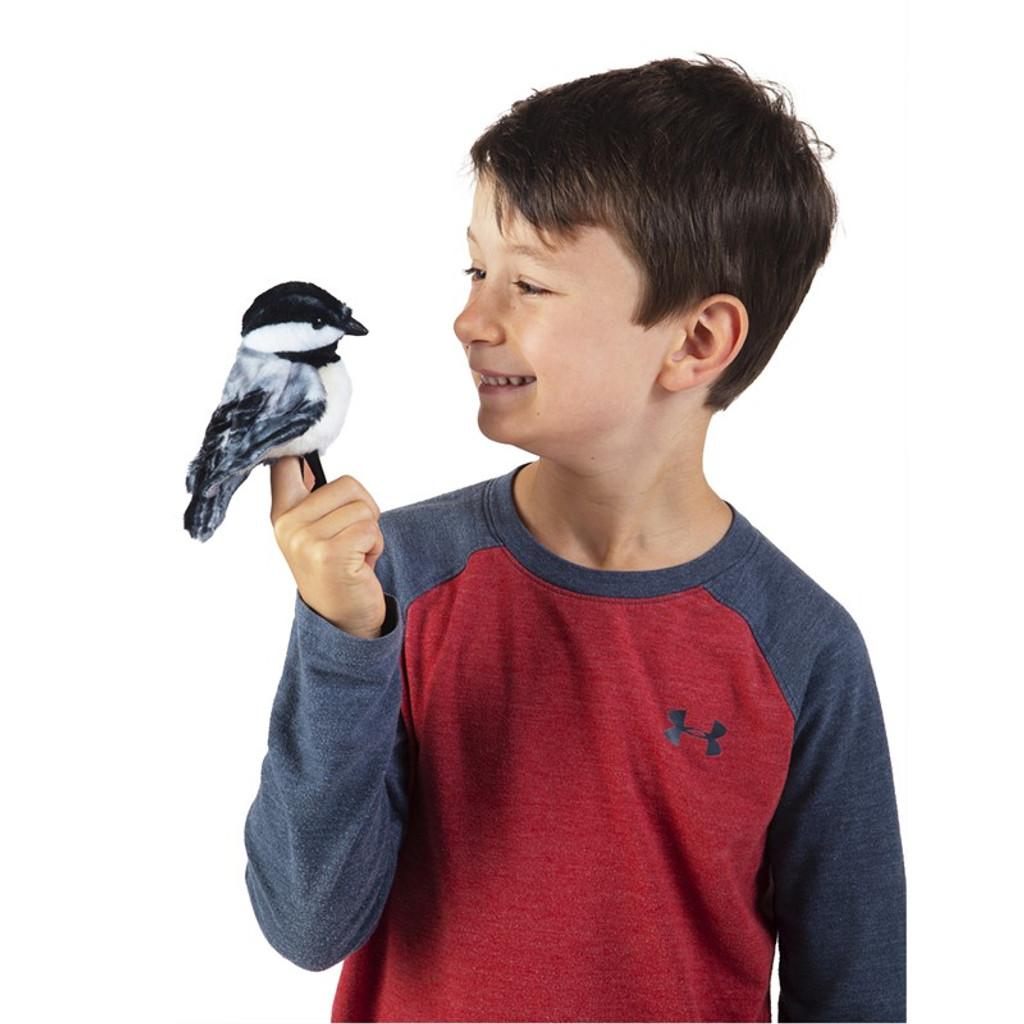 Folkmanis Mini Chickadee Finger Puppet with boy