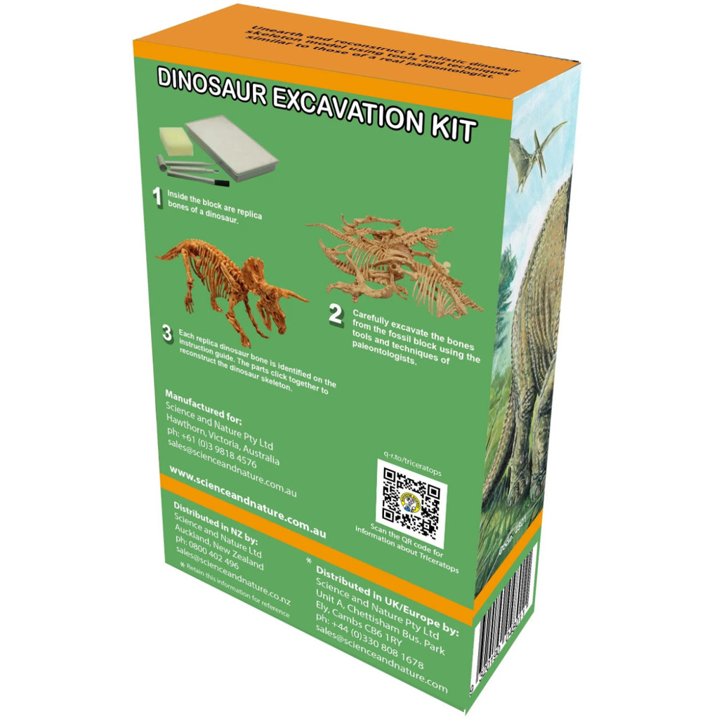 Discover Science Triceratops Excavation Kit back